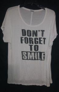 White Black Don't Forget To Smile T-shirt Sz 1X